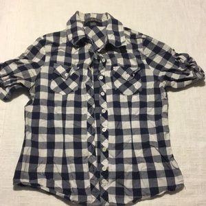 Women's short sleeve plaid button down
